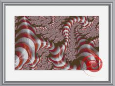 Red Twisted Candy Cane Fractal Cross Stitch Printable Needlework Pattern - DIY Crossstitch Chart, Relaxing Hobby, Instant Download PDF