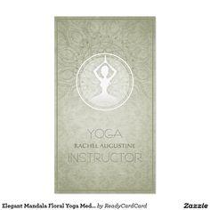 Elegant Mandala Floral Yoga Meditation Instructor Business Card