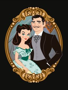 """""""Gone with the Wind"""": Vivien Leigh (Scarlett O'Hara) & Clark Gable (Rhett Butler) Old Movies, Great Movies, Wind Drawing, Character Art, Character Design, Cinema Tv, Celebrity Caricatures, Funny Caricatures, Tomorrow Is Another Day"""