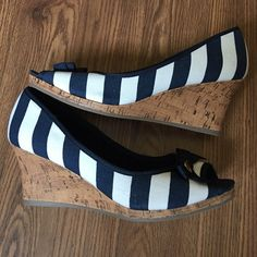 BOGO 1/2 OFF Blue/white striped wedge pin-up shoes SUPER cute blue and white stripe cork wedges.  Perfect for your summer pin-up look with a pair of high waisted shorts or swimsuit.  Size 10 wide. New without tags. Shoes Wedges