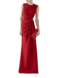 Gucci Silk Cady Godet Dress - Red - Size 40