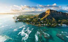 Diamond Head au coucher du soleil, Hawaii, États-Unis, belle ville, mer, côte Fonds d'écran - 1920x1200