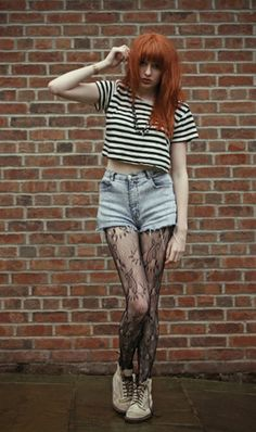 Stripey Crop Top, Stonewashed Shorts, Lace Tights, Suede D Ms