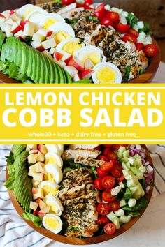 This Lemon Chicken Cobb Salad is a complete meal! So hearty and fresh! Plus it's all dairy free, gluten free, and Whole30 compliant.