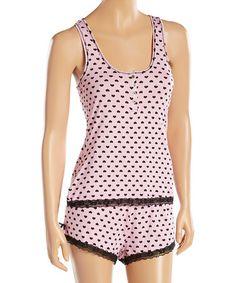 Look at this #zulilyfind! Pink & Black Heart Sweetness Short Pajama Set #zulilyfinds