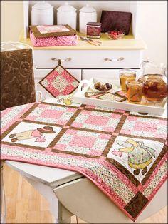 Quilting - Kitchen Patterns - Runner & Topper Patterns - Sunbonnet Sue: Chocolate & Cherries Collection