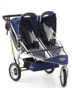 LOVE our BOB Revolution Duallie Double Jogging Stroller!  It is so easy to maneuver.  Front wheel is fixed or it can swivel.  Kids can independently recline and each have their own sun canopies.  Small compartment underneath for storage.  :)  $599.00  (Got ours used off of Craigslist for much less!)