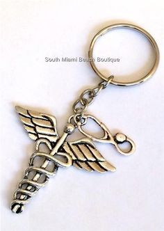 Silver Caduceus Stethoscope Keychain Doctor Nurse Medical Gift RN LPN DO MD ARNP #SouthMiamiBeachBoutique