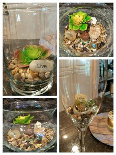 Terrarium creations using pebbles and faux succulents