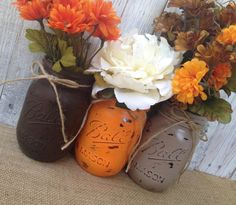 Pint Mason Jars,Fall Decor,Thanksgiving,Painted Mason Jars,Rustic Wedding Centerpieces,Baby Shower Decoration,Flower Vases,Rustic Home Decor on Etsy, $16.50