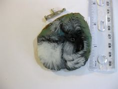 angora rabbit pin/pendant on agate