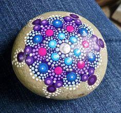 Hand Painted Beach Stone Turquoise & Purple by P4MirandaPitrone