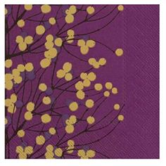 Marimekko Lumimarja Dark Purple & Gold Berries Paper Napkins ($6.11) ❤ liked on Polyvore featuring home, kitchen & dining, table linens, marimekko napkins, gold paper napkins, paper table napkins, marimekko and paper serviettes