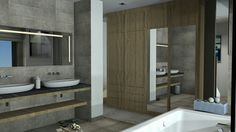 Creation d'un interieur 3d salle de bain moderne. Interior design 3d creation. www.passionnement-meuble.com