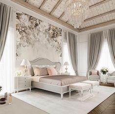 Room Design Bedroom, Home Room Design, Bedroom Decor, Beautiful Bedroom Designs, Beautiful Bedrooms, Modern Luxury Bedroom, Luxurious Bedrooms, White Bedroom Vanity, Huge Master Bedroom