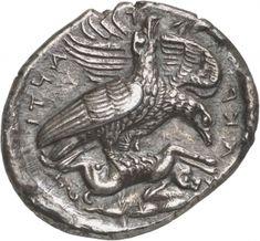 Tetradracma - argento - Akragas (Agrigento) Sicilia (413-411 a.C.) - AKP–A–Γ–ANTI–NΩN (retrograda) coppia di aquile vs.dx. con un coniglio fra gli artigli - Münzkabinett Berlin