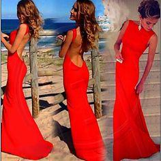 sexy backless bodycon cor sólida vestido maxi das mulheres - BRL R$ 51,30