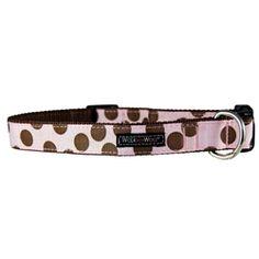 WaLk-e-Woo Brown Dots on Pink Dog Collar