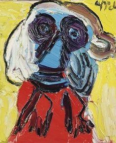 Karel Appel (1921-2006) Hij gaf de indruk te werken als een bezetene, waarbij hij echter wel veel tijd nam om de verf in de juiste kleur te mengen. Als het doek bijna af was, werkte hij langzamer, ten slotte zette hij nog maar een enkele toets of liet de laatste verbeteringen zelfs weg. Appel werkte altijd aan één schilderij tegelijk