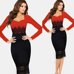 Women Lace Splicing Long Sleeve Bodycon Party Cocktail Prom Party Pencil Dress
