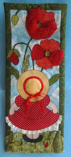 Sunbonnet Sue has to stretch her neck to see these huge flowers! Love it!