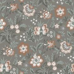 Red And Pink, Green And Grey, Grey Floral Wallpaper, Brewster Wallpaper, Wallpaper Warehouse, Pink Blossom, Wallpaper Roll, Grey Walls, Designer Wallpaper