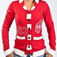 Love this sweater with the correct shield colors. Delta Sigma Theta Sorority Inc. Delta Sigma Theta, Alpha Sigma Alpha, What Is A Delta, Delta Girl, Omega Psi Phi, Sorority Life, Sorority And Fraternity, My Style, Sweaters