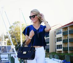 Majorly crushing on @Jennifer Rand BelledeCouture 's velvet look, paired with a Merci-Fortune bag & James Jeans High Class Skinny in Frost White. Click now to steal her style!