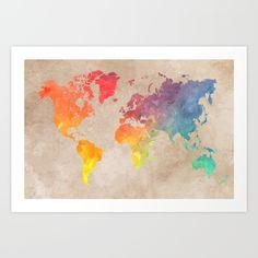 World Map Maps Art Print
