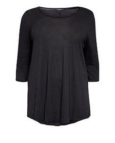 Plus Size Black 3/4 Sleeve Top  | New Look