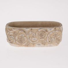 Wonderful ceramic flower pot in beige color. www.inart.com
