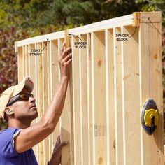 Keep Shed Framing Straight - DIY Storage Shed Building Tips: http://www.familyhandyman.com/sheds/diy-storage-shed-building-tips#7