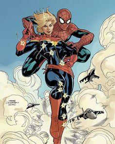 Captain Marvel and Spidey  Avenging Spider-Man #9 Cover  Rachel Dodson Inks Pencils and colors by Me  #captainmarvel #spiderman #marvelcomics #caroldanvers #terrydodson #racheldodsoninks #photoshop #cintiq #comicbookart