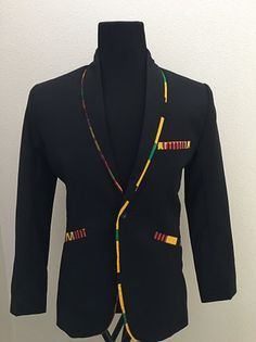 Kente blazer Adeshie Collection by AdeshieCollection on Etsy African Attire, African Wear, African Dress, African Print Fashion, Fashion Prints, Ankara Clothing, Rasta Clothing, Style Africain, Style Masculin