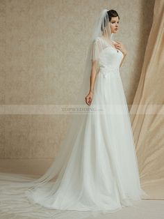 A Line Polka Dot Tulle Wedding Dress with Appliqued Straps and Waist