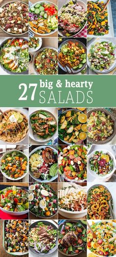 These 27 BIG HEARTY SALADS are the perfect healthy recipe for those New Years resolutions! Every type of salad you can imagine. Eating healthy can be delicious! Healthy Dinner Ideas for Delicious Night & Get A Health Deep Sleep Healthy Salad Recipes, Healthy Drinks, Healthy Snacks, Healthy Eating, Vegetarian Recipes, Healthy Salads For Dinner, Nutrition Drinks, Nutrition Tips, Diabetic Recipes