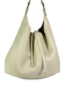 """Faith""  beige leather hobo bag Leather Clutch, Calf Leather, Minimal Design, Handmade Bags, Hobo Bag, Italian Leather, Hand Stitching, Shopping Bag, Calves"