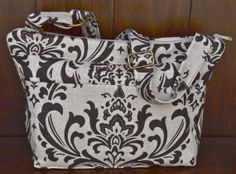 Purse -  Linen - brown damask  / Room for i pad or pc / Womens CROSS BODY strap  /Shoulder Bag / travel tote / by Darby Mack
