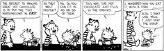 Calvin and Hobbes by Bill Watterson  tiny marshmallows / hot chocolate