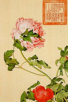 Representation of peonies by Lang Shih-ning (Giuseppe Castiglione, 1688 - 1766) from the Ch'ing Dynasty. The Italian Jesuit, painter and architect lived and worked at the court of Emperor Ch'ien Lung.