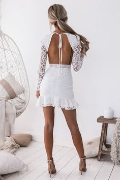 Women Hallow Out White Lace Dress O-Neck Long Sleeve Backless Sexy Bodycon Dresses Lady Party Dress Lace Homecoming Dresses, Sexy Dresses, White Graduation Dresses, Hoco Dresses, Club Dresses, Prom, Formal Dresses, White Midi Dress, Lace Dress