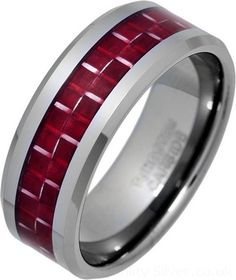 Tungsten and Red Carbon Fibre Ring