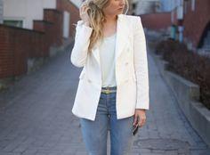 White blazer & light blue jeans
