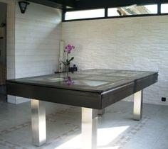 billard table design plateau verre noir