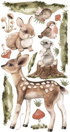 Jungle Animals, Forest Animals, Baby Animals, Cute Animals, Kids Wall Decals, Art Wall Kids, Samhain, Woodland Nursery, Woodland Art