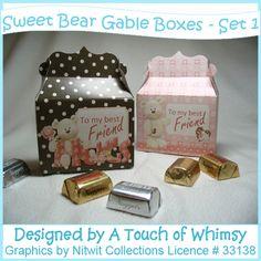 Fancy gable box - easy to make - cute little bears