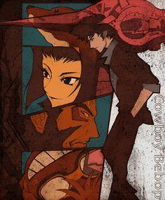 (Cowboy Bebop) Ein, Faye Valentine, Jet Black, Ed and Spike Spiegel Manga Anime, Me Anime, Anime Love, Manga Art, Anime Art, Cowboy Bebop, Akira, See You Space Cowboy, Faye Valentine