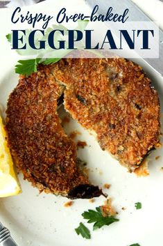 vegan egg, butter and parmesan cheese. These panko crusted eggplant rounds are perfect as a side dish and hearty enough to take center stage. Baked Breaded Eggplant, Baked Eggplant Recipes, Crispy Eggplant, Stuffed Eggplant Recipes, Healthy Eggplant Parmesan, Eggplant Side Dishes, Vegetable Side Dishes, Diet Recipes, Vegetarian Recipes