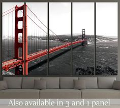 The Golden Gate Bridge on a monochromatic background №2607 Framed Canvas Print