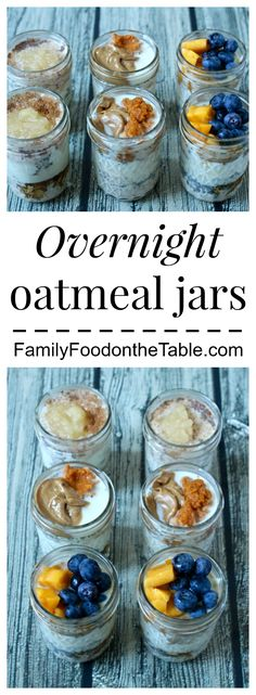 Overnight oatmeal jars - an easy base recipe, our 3 favorite flavors and lots of other ideas to try! | FamilyFoodontheTable.com